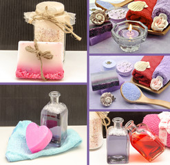 Collage de productos de belleza