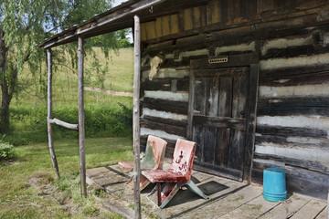 Front porch of rustic cabin in Virginia
