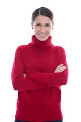 Erfolgreiche junge Frau - lachend isoliert in Rot