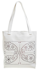 white leather female bag with perforated pattern