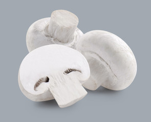 Two white mushrooms and slice isolated on grey background