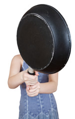 woman with skillet close up isolated