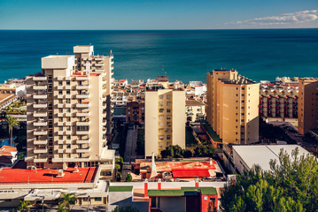 Coastal architecture of Torremolinos town. Spain