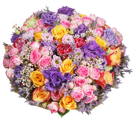 bouquet of flowers from roses and chrysanthemums