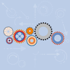 Vector abstract gears background in flat design