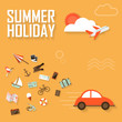 Vector summer background, flat design