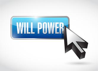 will power blue button illustration design
