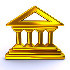 Golden historical building icon