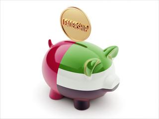 United Arab Emirates. Leadership Concept Piggy Concept