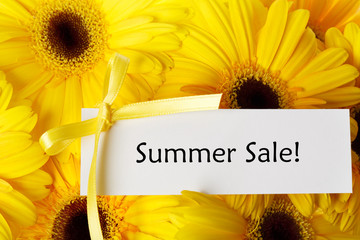 Summer Sale card with yellow gerberas
