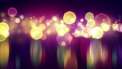 shiny bokeh lights with reflections loop background