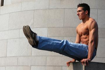 Sexy muscular gymnast