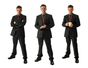Three Young Businessmen with Tea Cup