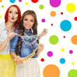 Two trendy young women with colorful necklaces