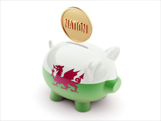 Wales Nation Concept Piggy Concept