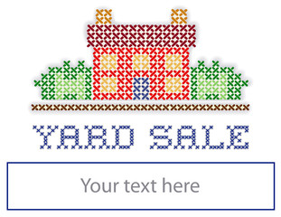 YARD SALE real estate sign, retro cross stitch embroidery design