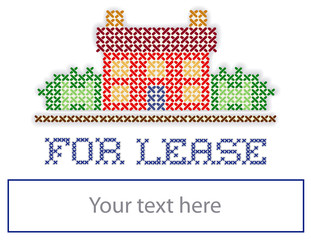 Real Estate FOR LEASE yard sign retro cross stitch embroidery
