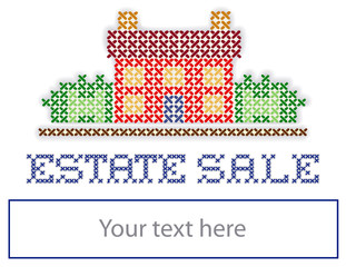 ESTATE SALE yard sign retro cross stitch embroidery design