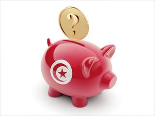 Tunisia Question Mark Concept Piggy Concept