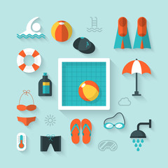 Flat icons for summer holiday