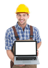 Manual Worker Displaying Laptop