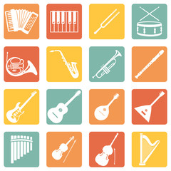 Vector Set of Musical Instruments Icons
