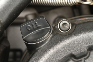 Engine oil cap on motorcycle
