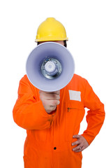 Builder with loudspeaker isolated on white