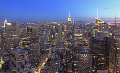 New York City skyline at dusk, USA