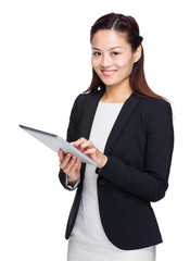 Business woman hold tablet