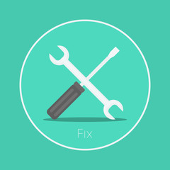 "Fix : Vector ""spanner & screwdriver"" icon flat design"