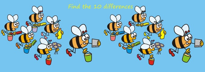 bees - find the ten differences