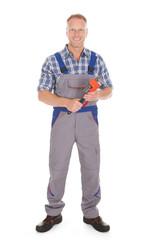 Smiling Handyman Holding Adjustable Wrench