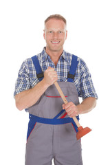 Excited Young Male Plumber Holding Plunger