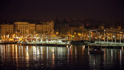 Port Vell at Barcelona in night. Catalonia, Spain