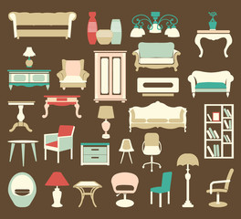 Retro style Furniture  Icons Silhouettes
