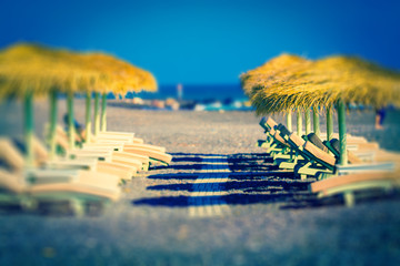 parasols and sunbeds