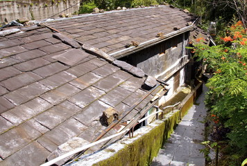 The slate roof of traditional house