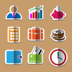 Business paper fold icons set