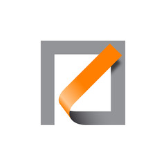 Vector logo abstract shape. Tape in a square