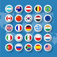 Vector flag buttons in flat design