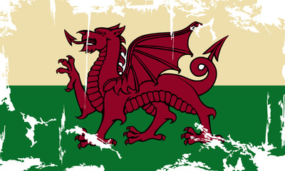 Wales grunge flag. Vector illustration