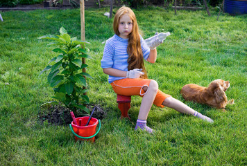 Girl planted a tree and watering it