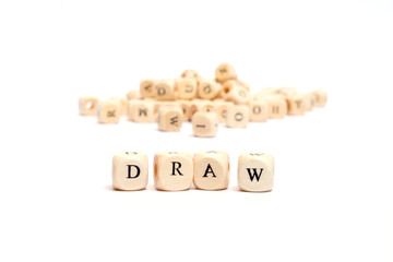 word with dice on white background- draw