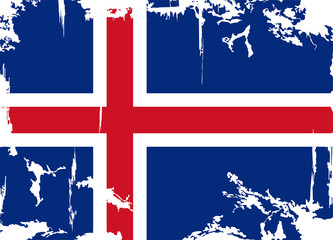 Icelandic grunge flag. Vector illustration