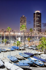 Port Olimpic Marina at Night in Barcelona