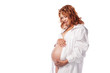 beauty pregnant woman in white shirt isolated