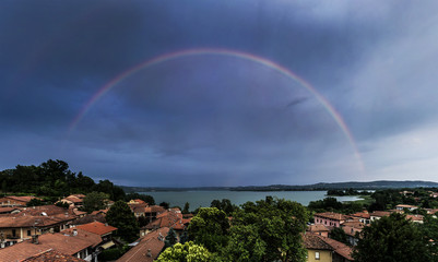 Biandronno, raindow over Varese lake