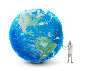 Tiny doctor with a globe