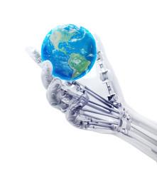 Artificial hand holding a world globe